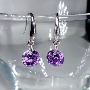 Jewelry - 925 Stamped 8mm Purple CZ Drop Earrings